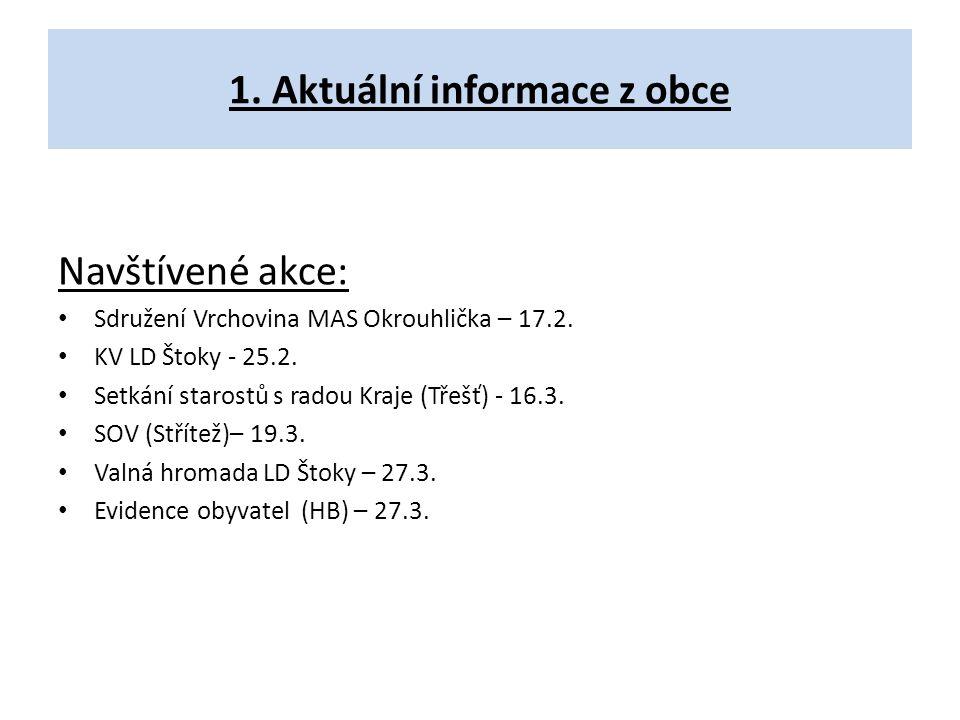 1. Aktuální informace z obce Navštívené akce: Sdružení Vrchovina MAS Okrouhlička – 17.2. KV LD Štoky - 25.2. Setkání starostů s radou Kraje (Třešť) -