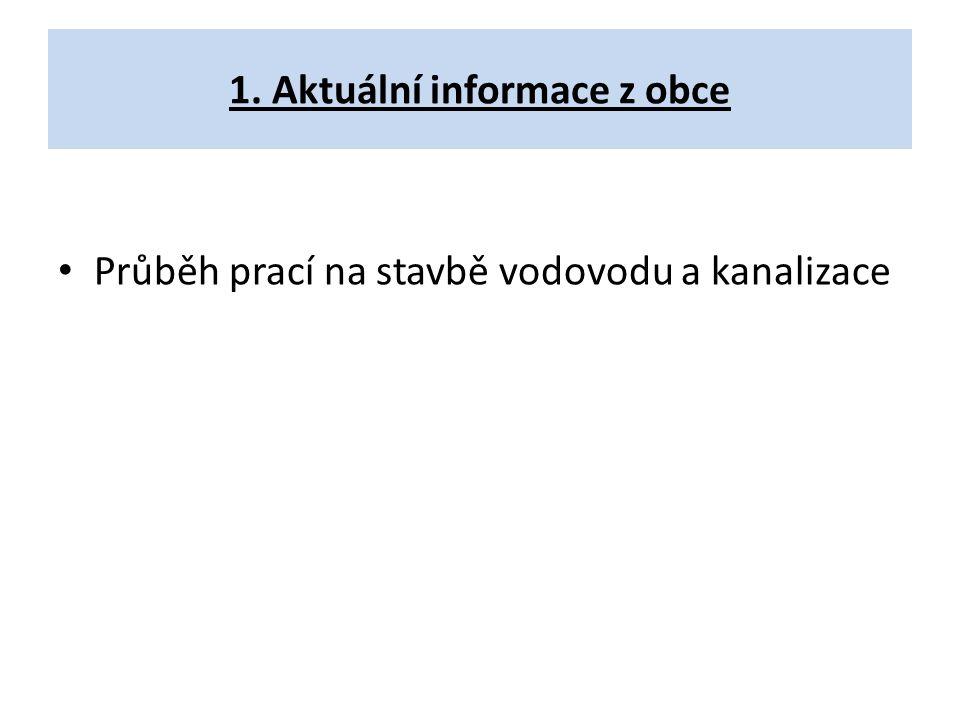1. Aktuální informace z obce Průběh prací na stavbě vodovodu a kanalizace