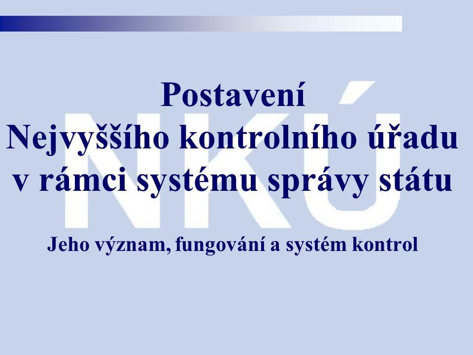 Postavení Nejvyššího kontrolního úřadu v rámci systému správy státu Jeho význam, fungování a systém kontrol