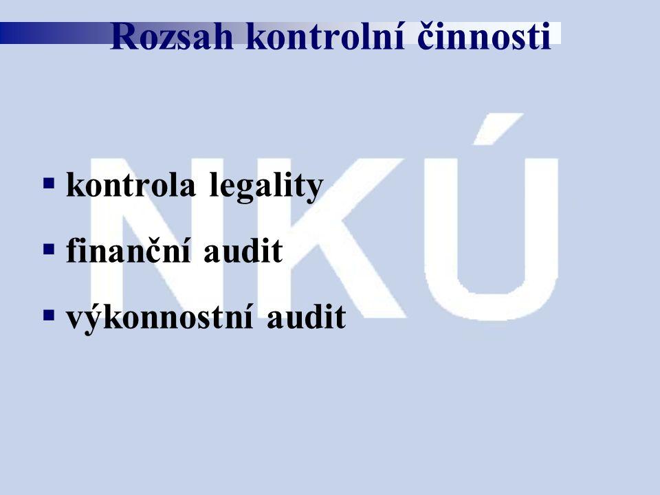  kontrola legality  finanční audit  výkonnostní audit Rozsah kontrolní činnosti