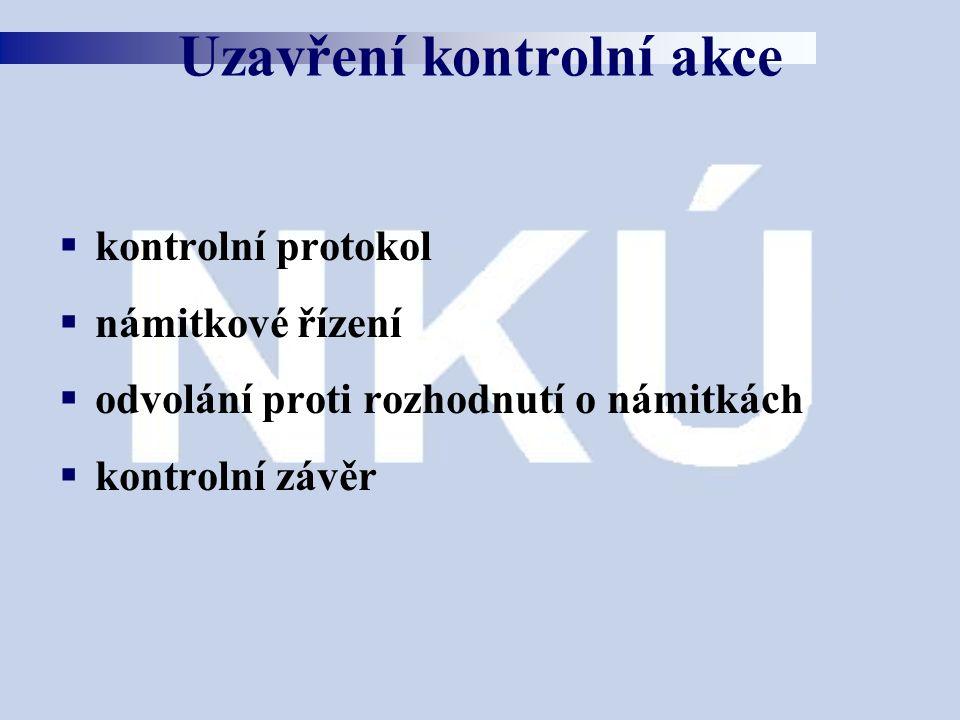  kontrolní protokol  námitkové řízení  odvolání proti rozhodnutí o námitkách  kontrolní závěr Uzavření kontrolní akce