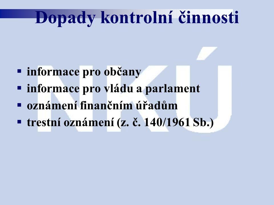  informace pro občany  informace pro vládu a parlament  oznámení finančním úřadům  trestní oznámení (z. č. 140/1961 Sb.) Dopady kontrolní činnosti