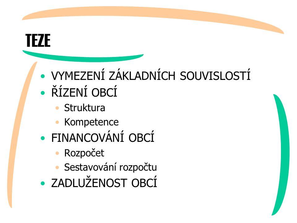 ŘÍZENÍ OBCE Je nejvyšším orgánem obce (jediný orgán obce volený v přímých volbách občany).
