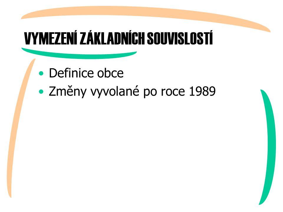 VYMEZENÍ ZÁKLADNÍCH SOUVISLOSTÍ Definice obce Změny vyvolané po roce 1989