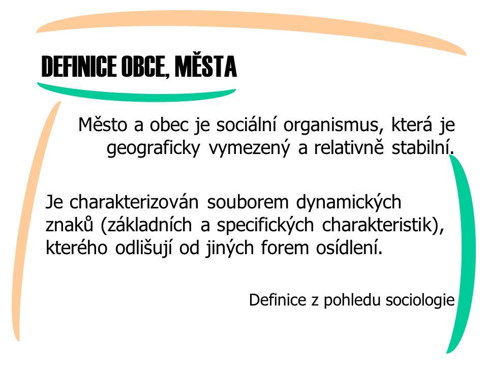 DEFINICE OBCE, MĚSTA Město a obec je sociální organismus, která je geograficky vymezený a relativně stabilní.