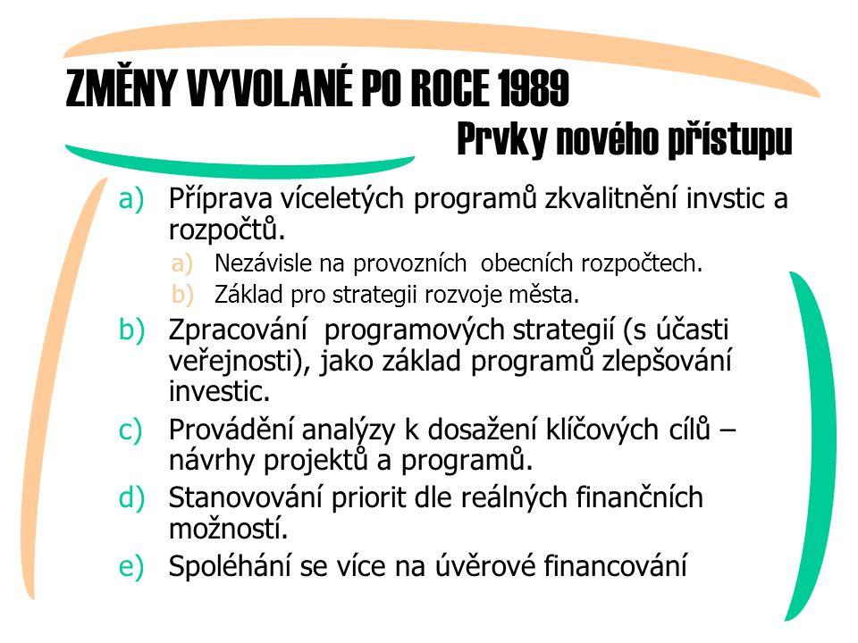 ZMĚNY VYVOLANÉ PO ROCE 1989 a)Příprava víceletých programů zkvalitnění invstic a rozpočtů.