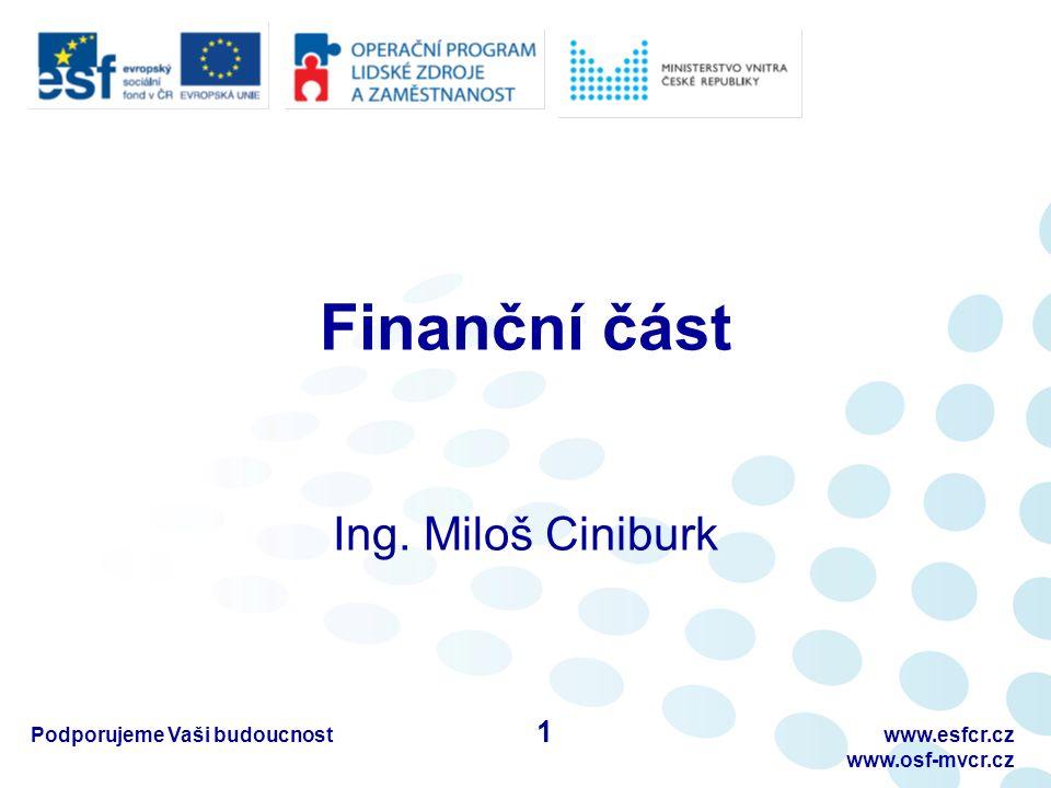 Podporujeme Vaši budoucnostwww.esfcr.cz www.osf-mvcr.cz Způsob financování grantových projektů Financování formou Ex-Ante - Dvě zálohy 1.