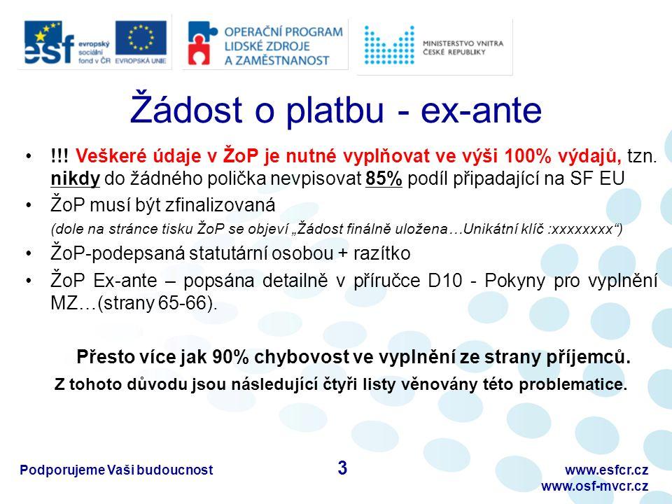 Podporujeme Vaši budoucnostwww.esfcr.cz www.osf-mvcr.cz B) Pracovní výkaz – III.