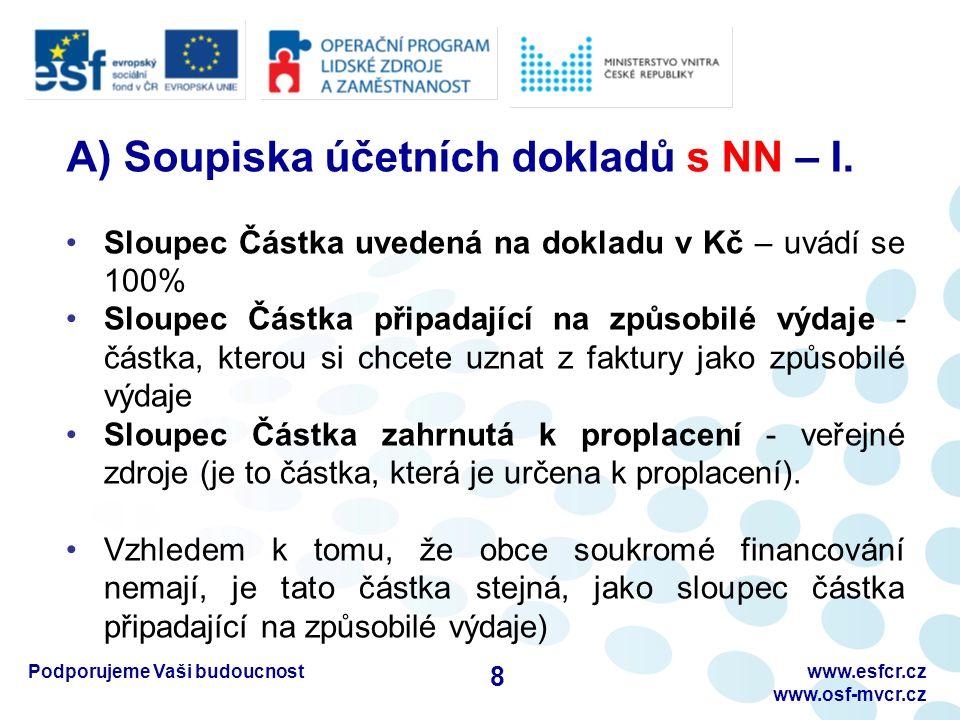 Podporujeme Vaši budoucnostwww.esfcr.cz www.osf-mvcr.cz A) Soupiska účetních dokladů s NN – II.