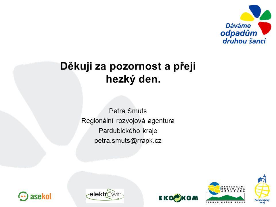 Děkuji za pozornost a přeji hezký den. Petra Smuts Regionální rozvojová agentura Pardubického kraje petra.smuts@rrapk.cz