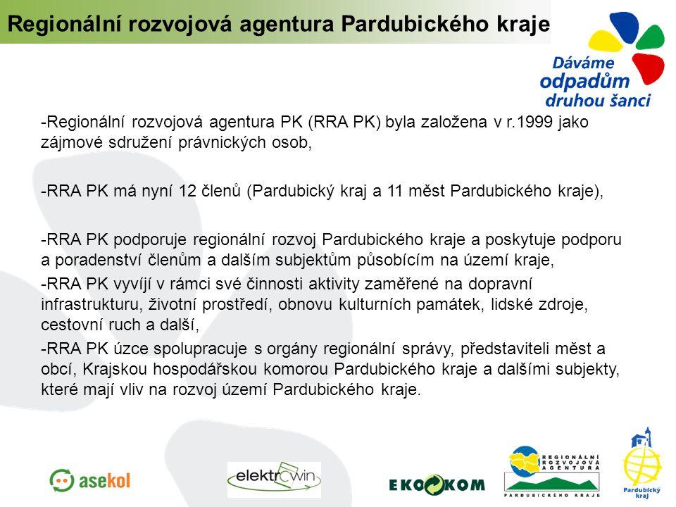  Regionální rozvojová agentura PK (RRA PK) byla založena v r.1999 jako zájmové sdružení právnických osob,  RRA PK má nyní 12 členů (Pardubický kraj a 11 měst Pardubického kraje),  RRA PK podporuje regionální rozvoj Pardubického kraje a poskytuje podporu a poradenství členům a dalším subjektům působícím na území kraje,  RRA PK vyvíjí v rámci své činnosti aktivity zaměřené na dopravní infrastrukturu, životní prostředí, obnovu kulturních památek, lidské zdroje, cestovní ruch a další,  RRA PK úzce spolupracuje s orgány regionální správy, představiteli měst a obcí, Krajskou hospodářskou komorou Pardubického kraje a dalšími subjekty, které mají vliv na rozvoj území Pardubického kraje.
