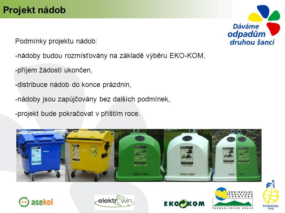 Podmínky projektu nádob:  nádoby budou rozmísťovány na základě výběru EKO-KOM, -příjem žádostí ukončen, -distribuce nádob do konce prázdnin, -nádoby jsou zapůjčovány bez dalších podmínek, -projekt bude pokračovat v příštím roce.