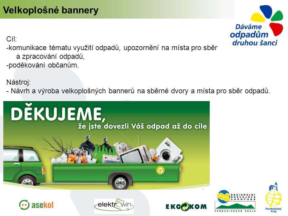 Velkoplošné bannery Cíl: -komunikace tématu využití odpadů, upozornění na místa pro sběr a zpracování odpadů, -poděkování občanům. Nástroj: - Návrh a