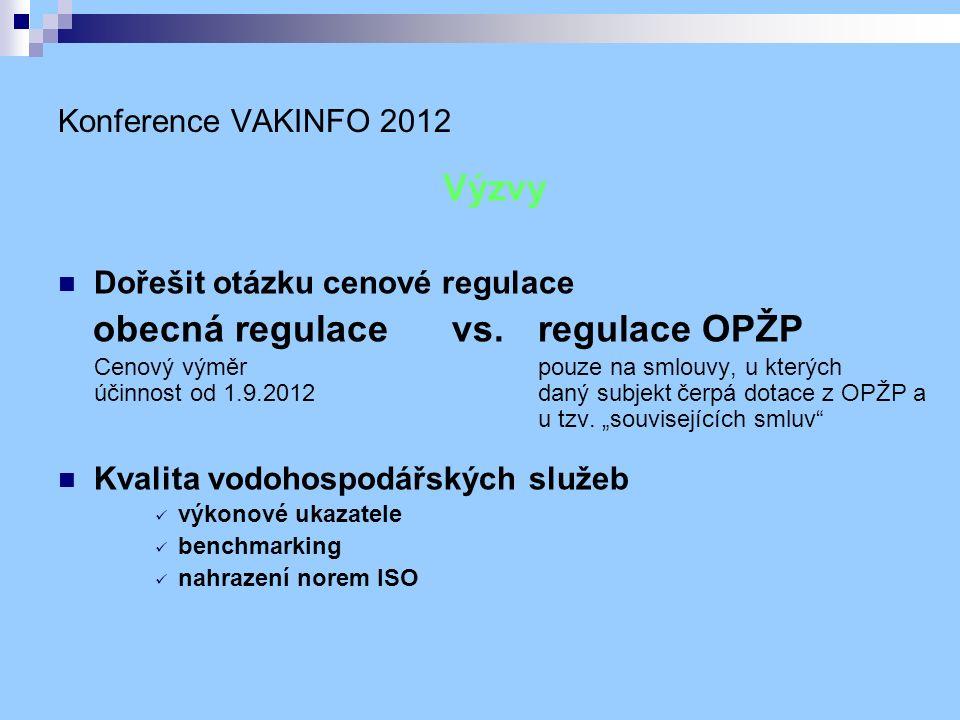 Konference VAKINFO 2012 Výzvy Dořešit otázku cenové regulace obecná regulace vs.