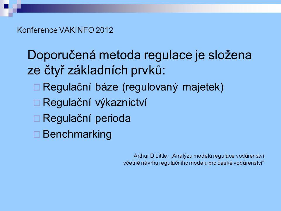 """Konference VAKINFO 2012 Doporučená metoda regulace je složena ze čtyř základních prvků:  Regulační báze (regulovaný majetek)  Regulační výkaznictví  Regulační perioda  Benchmarking Arthur D Little: """"Analýzu modelů regulace vodárenství včetně návrhu regulačního modelu pro české vodárenství"""