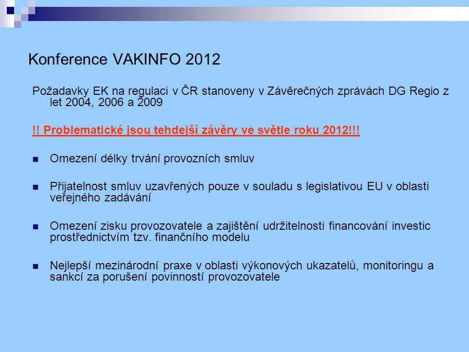 Konference VAKINFO 2012 Požadavky EK na regulaci v ČR stanoveny v Závěrečných zprávách DG Regio z let 2004, 2006 a 2009 !.