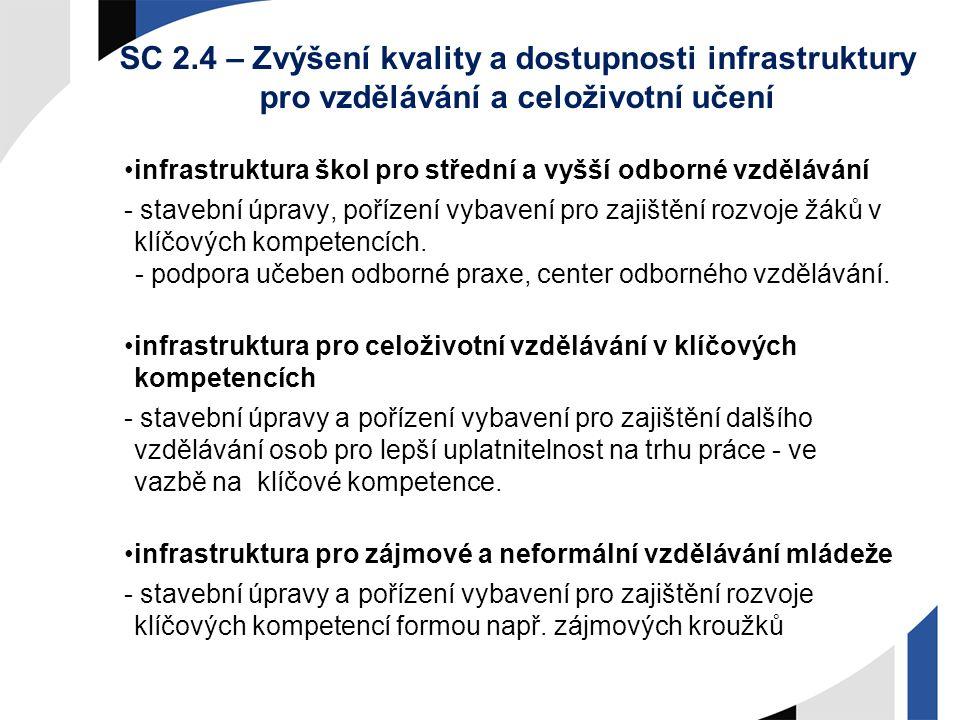 SC 2.4 – Zvýšení kvality a dostupnosti infrastruktury pro vzdělávání a celoživotní učení infrastruktura škol pro střední a vyšší odborné vzdělávání -