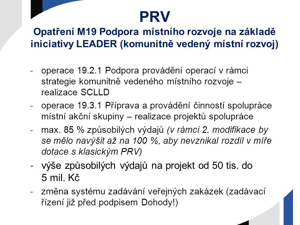 PRV Opatření M19 Podpora místního rozvoje na základě iniciativy LEADER (komunitně vedený místní rozvoj) -operace 19.2.1 Podpora provádění operací v rá