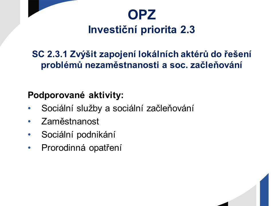 OPZ Investiční priorita 2.3 SC 2.3.1 Zvýšit zapojení lokálních aktérů do řešení problémů nezaměstnanosti a soc. začleňování Podporované aktivity: Soci