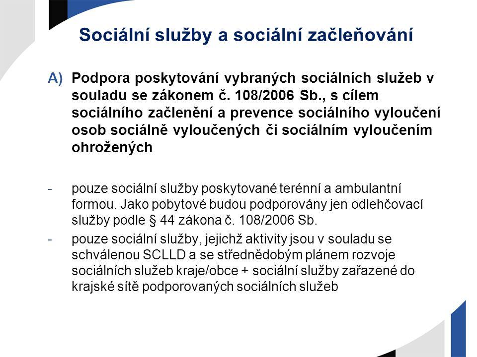 Sociální služby a sociální začleňování A)Podpora poskytování vybraných sociálních služeb v souladu se zákonem č. 108/2006 Sb., s cílem sociálního začl