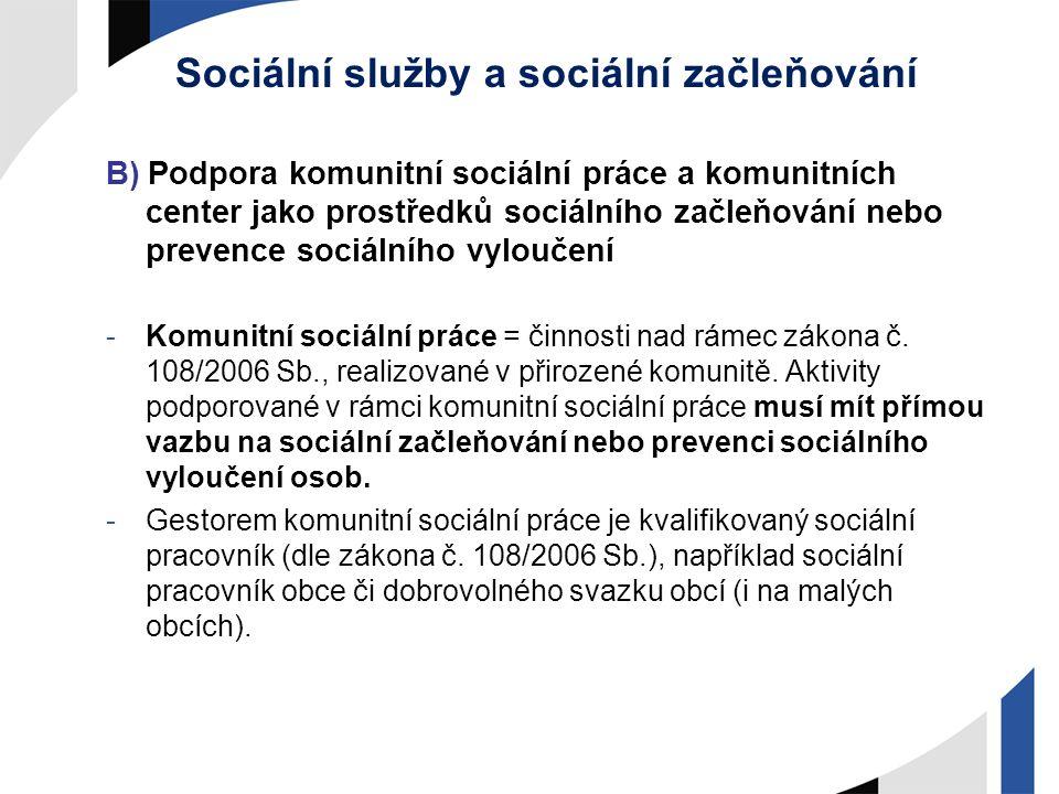 Sociální služby a sociální začleňování B) Podpora komunitní sociální práce a komunitních center jako prostředků sociálního začleňování nebo prevence s