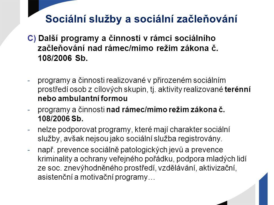 Sociální služby a sociální začleňování C) Další programy a činnosti v rámci sociálního začleňování nad rámec/mimo režim zákona č. 108/2006 Sb. -progra
