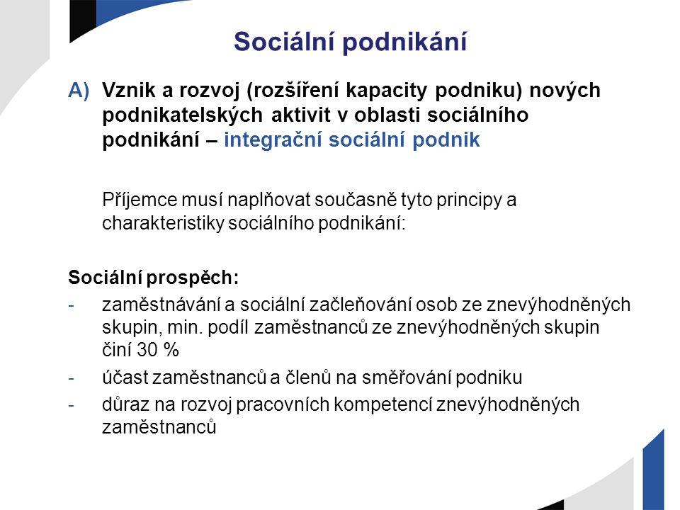 Sociální podnikání A)Vznik a rozvoj (rozšíření kapacity podniku) nových podnikatelských aktivit v oblasti sociálního podnikání – integrační sociální p