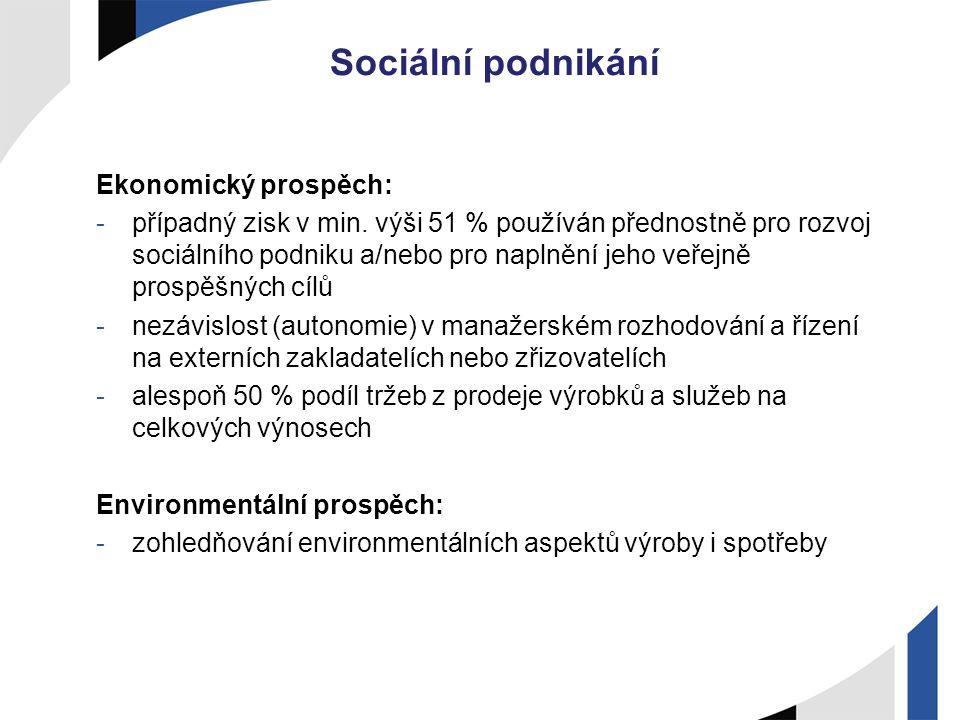 Sociální podnikání Ekonomický prospěch: -případný zisk v min. výši 51 % používán přednostně pro rozvoj sociálního podniku a/nebo pro naplnění jeho veř