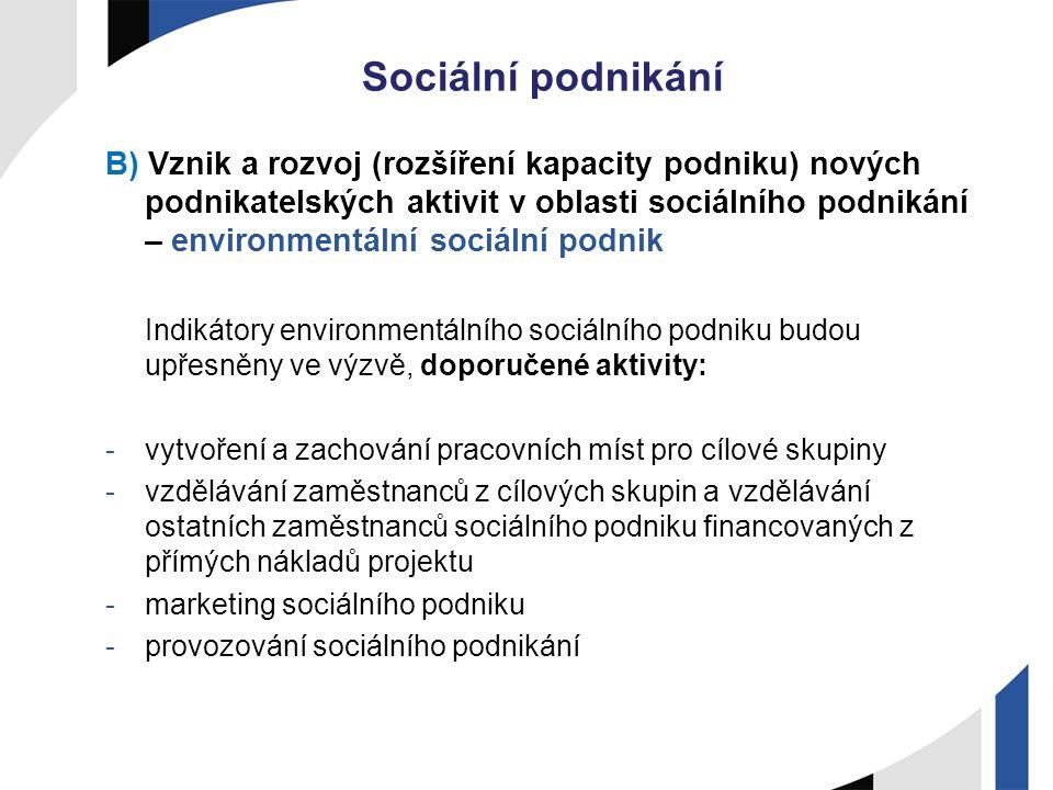Sociální podnikání B) Vznik a rozvoj (rozšíření kapacity podniku) nových podnikatelských aktivit v oblasti sociálního podnikání – environmentální soci