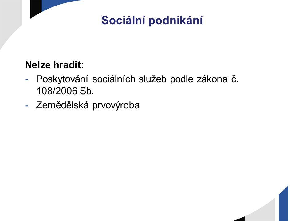 Sociální podnikání Nelze hradit: -Poskytování sociálních služeb podle zákona č. 108/2006 Sb. -Zemědělská prvovýroba