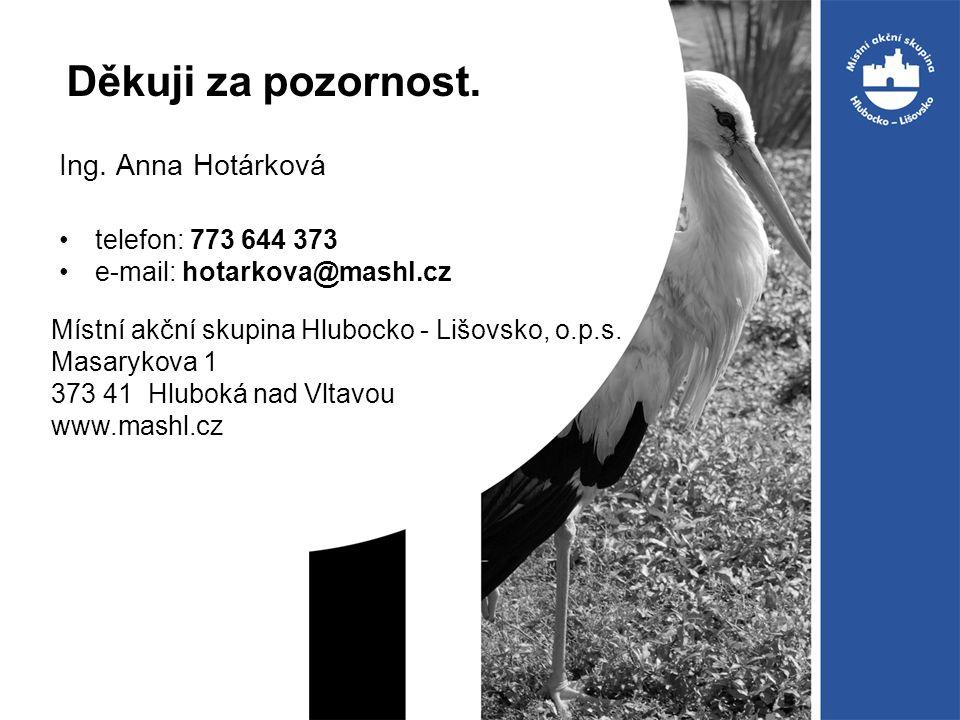 Děkuji za pozornost. Ing. Anna Hotárková telefon: 773 644 373 e-mail: hotarkova@mashl.cz Místní akční skupina Hlubocko - Lišovsko, o.p.s. Masarykova 1