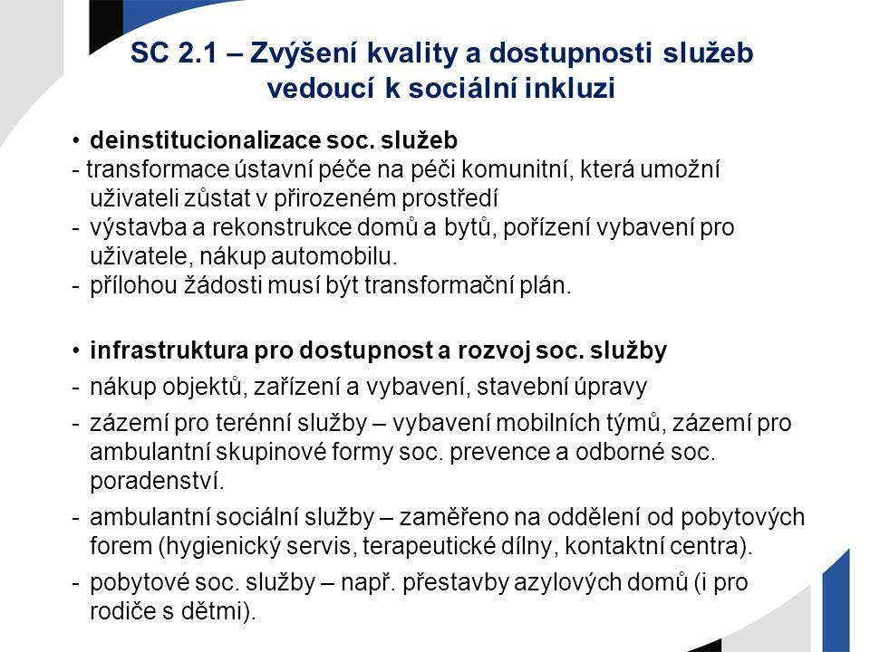 SC 2.1 – Zvýšení kvality a dostupnosti služeb vedoucí k sociální inkluzi deinstitucionalizace soc. služeb - transformace ústavní péče na péči komunitn