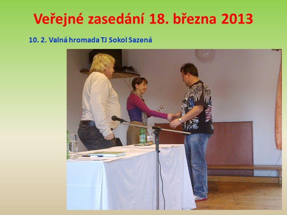 Veřejné zasedání 18. března 2013 10. 2. Valná hromada TJ Sokol Sazená