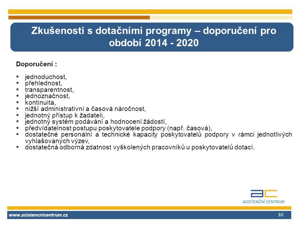 www.asistencnicentrum.cz 10 Zkušenosti s dotačními programy – doporučení pro období 2014 - 2020 Doporučení :  jednoduchost,  přehlednost,  transpar