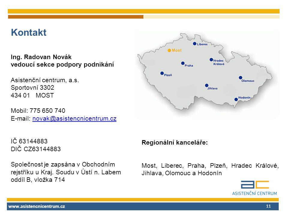 www.asistencnicentrum.cz 11 Kontakt Ing. Radovan Novák vedoucí sekce podpory podnikání Asistenční centrum, a.s. Sportovní 3302 434 01 MOST Mobil: 775