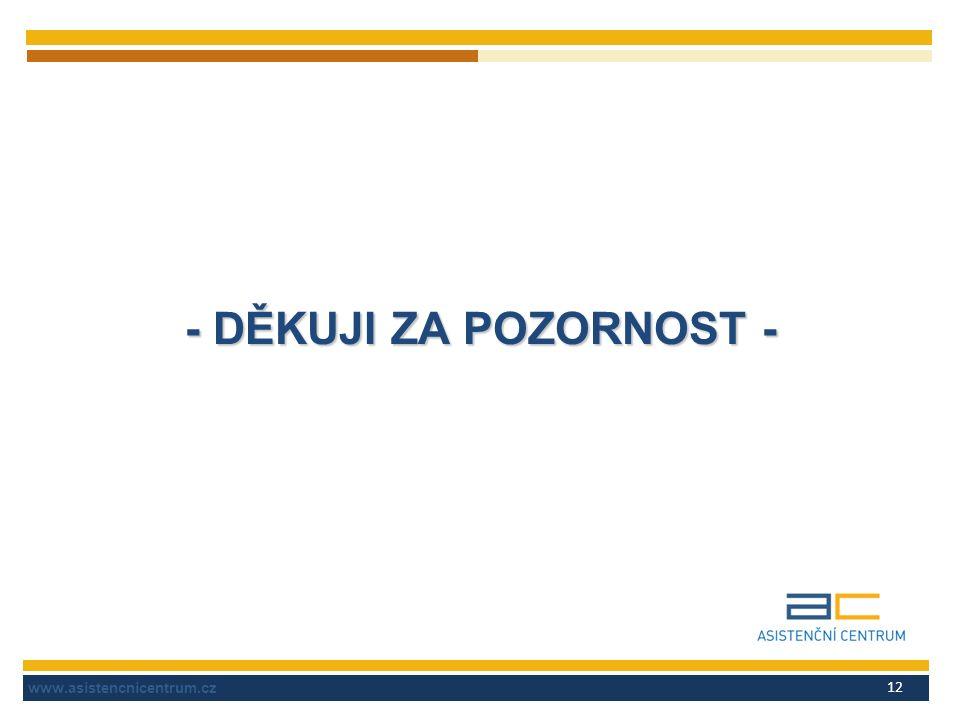 www.asistencnicentrum.cz 12 - DĚKUJI ZA POZORNOST -