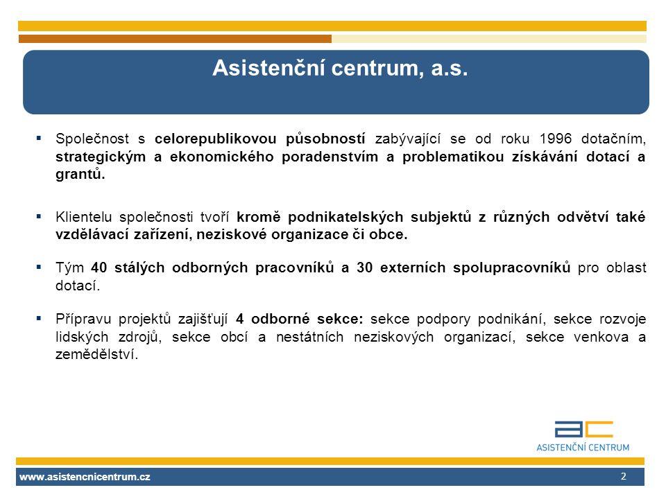 www.asistencnicentrum.cz 2 Asistenční centrum, a.s.  Společnost s celorepublikovou působností zabývající se od roku 1996 dotačním, strategickým a eko