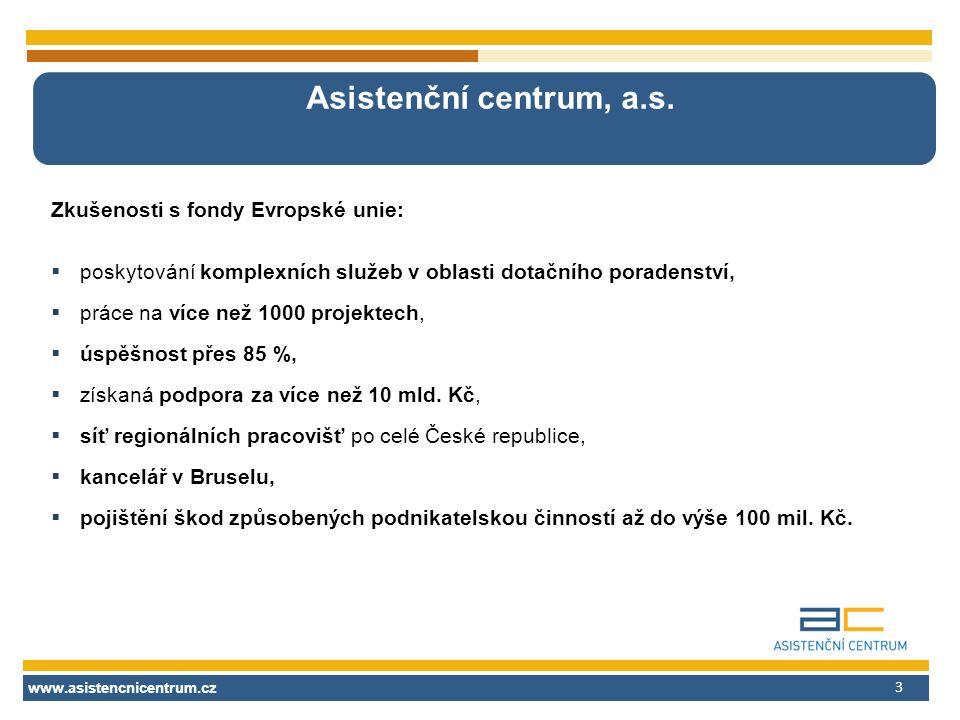 www.asistencnicentrum.cz 3 Asistenční centrum, a.s. Zkušenosti s fondy Evropské unie:  poskytování komplexních služeb v oblasti dotačního poradenství
