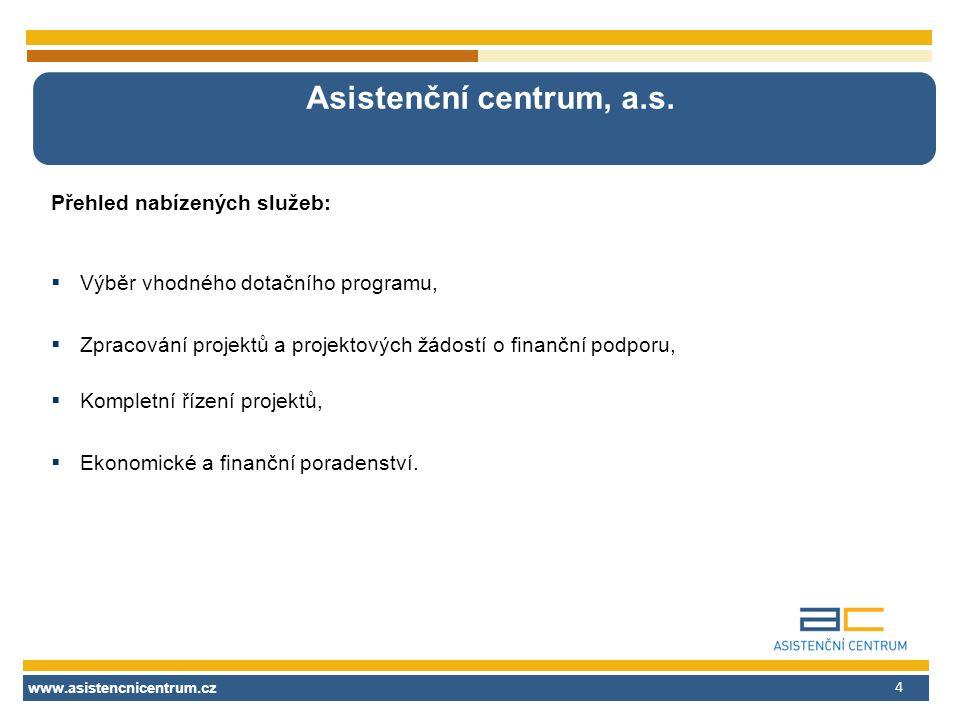 www.asistencnicentrum.cz 4 Asistenční centrum, a.s. Přehled nabízených služeb:  Výběr vhodného dotačního programu,  Zpracování projektů a projektový