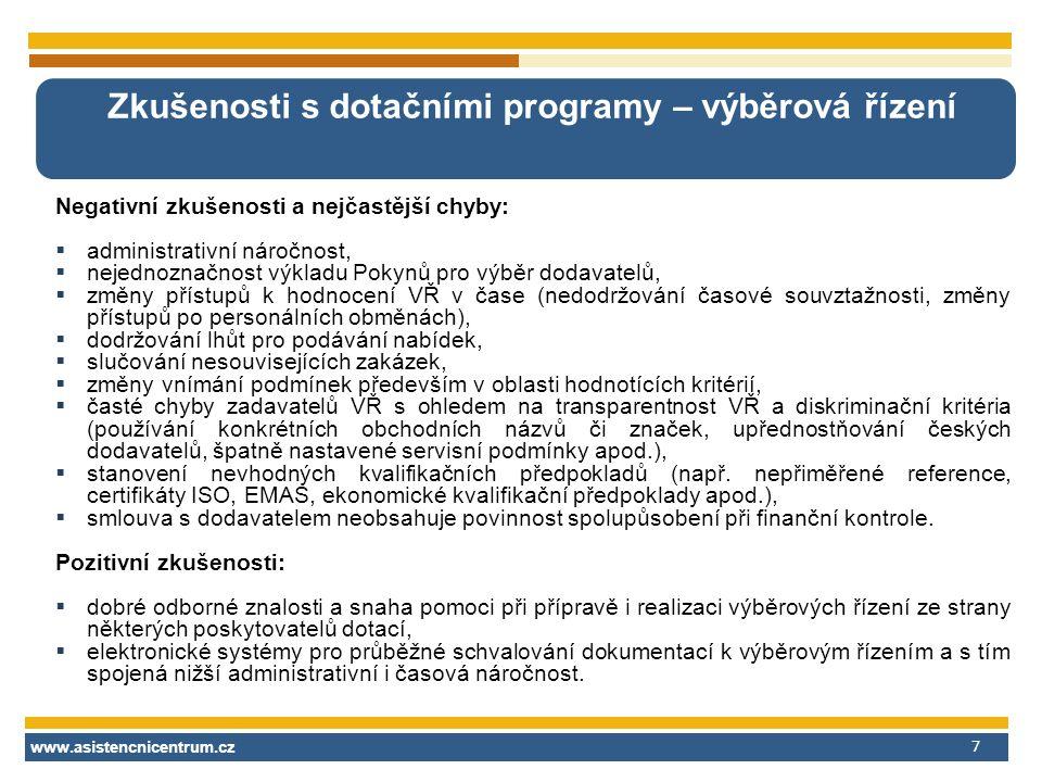 www.asistencnicentrum.cz 7 Zkušenosti s dotačními programy – výběrová řízení Negativní zkušenosti a nejčastější chyby:  administrativní náročnost, 
