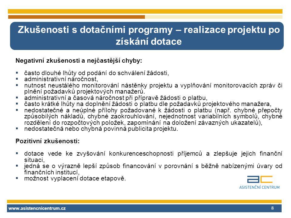 www.asistencnicentrum.cz 8 Zkušenosti s dotačními programy – realizace projektu po získání dotace Negativní zkušenosti a nejčastější chyby:  často dl