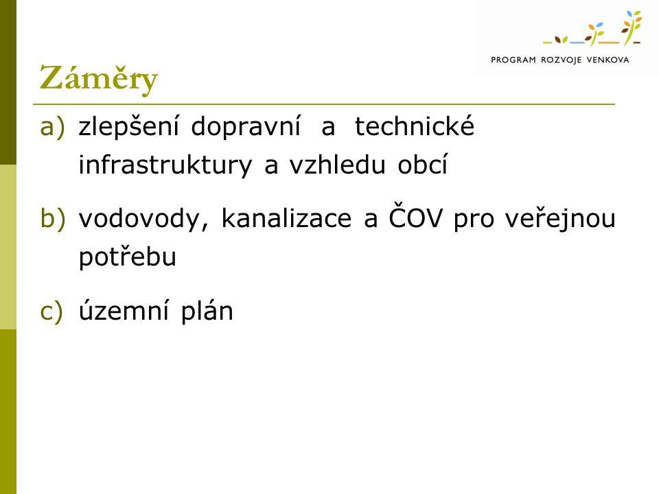 Záměry a)zlepšení dopravní a technické infrastruktury a vzhledu obcí b)vodovody, kanalizace a ČOV pro veřejnou potřebu c)územní plán