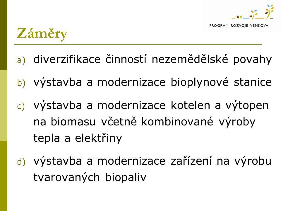 Záměry a) diverzifikace činností nezemědělské povahy b) výstavba a modernizace bioplynové stanice c) výstavba a modernizace kotelen a výtopen na biomasu včetně kombinované výroby tepla a elektřiny d) výstavba a modernizace zařízení na výrobu tvarovaných biopaliv