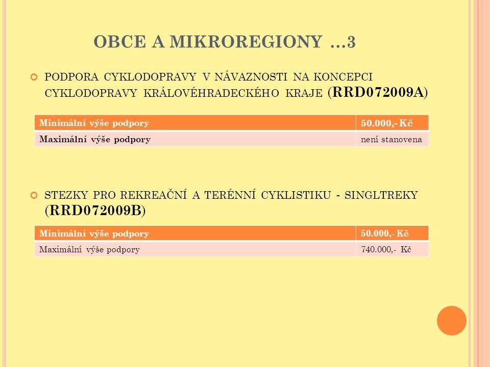 OBCE A MIKROREGIONY …3 PODPORA CYKLODOPRAVY V NÁVAZNOSTI NA KONCEPCI CYKLODOPRAVY KRÁLOVÉHRADECKÉHO KRAJE ( RRD072009A ) STEZKY PRO REKREAČNÍ A TERÉNNÍ CYKLISTIKU - SINGLTREKY ( RRD072009B ) Minimální výše podpory 50.000,- Kč Maximální výše podpory není stanovena Minimální výše podpory50.000,- Kč Maximální výše podpory740.000,- Kč