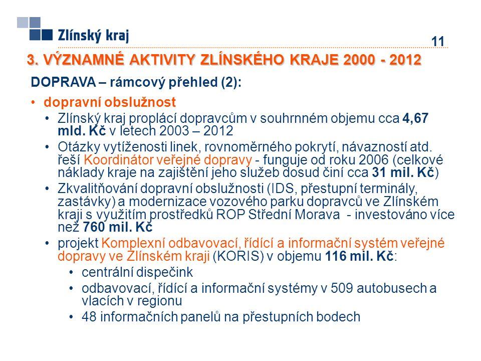 11 3. VÝZNAMNÉ AKTIVITY ZLÍNSKÉHO KRAJE 2000 - 2012 DOPRAVA – rámcový přehled (2): dopravní obslužnost Zlínský kraj proplácí dopravcům v souhrnném obj
