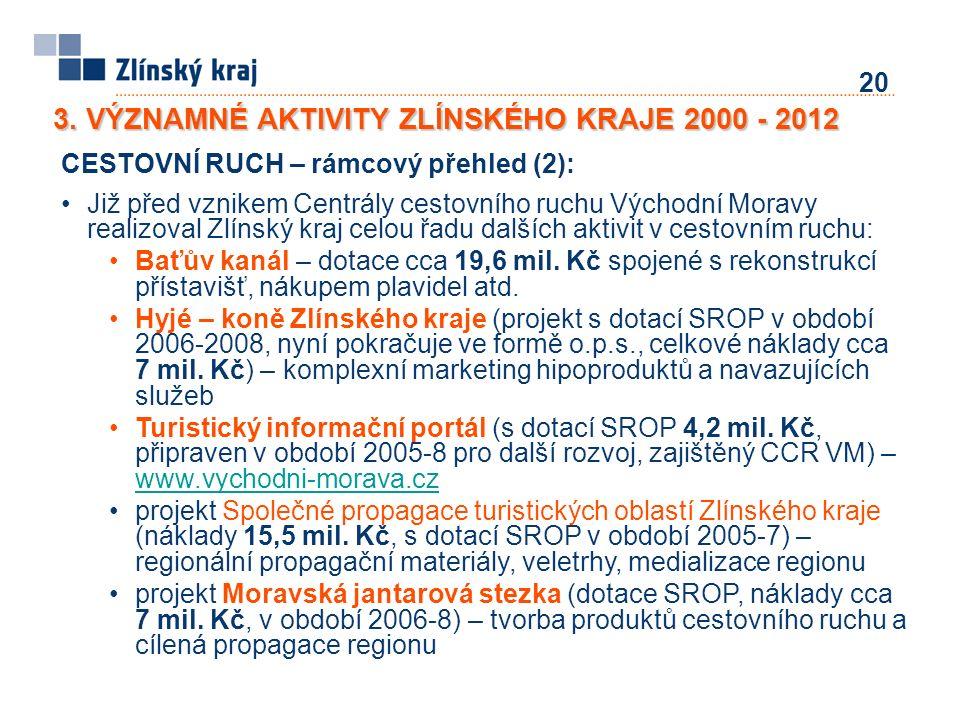 20 CESTOVNÍ RUCH – rámcový přehled (2): Již před vznikem Centrály cestovního ruchu Východní Moravy realizoval Zlínský kraj celou řadu dalších aktivit