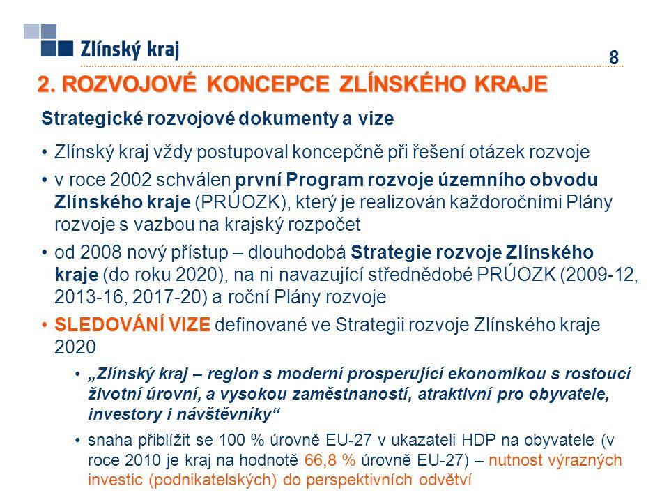 8 2. ROZVOJOVÉ KONCEPCE ZLÍNSKÉHO KRAJE Strategické rozvojové dokumenty a vize Zlínský kraj vždy postupoval koncepčně při řešení otázek rozvoje v roce