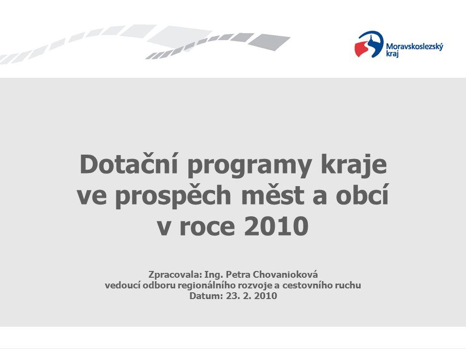 Dotační programy kraje ve prospěch měst a obcí Dotační programy kraje ve prospěch měst a obcí v roce 2010 Zpracovala: Ing.