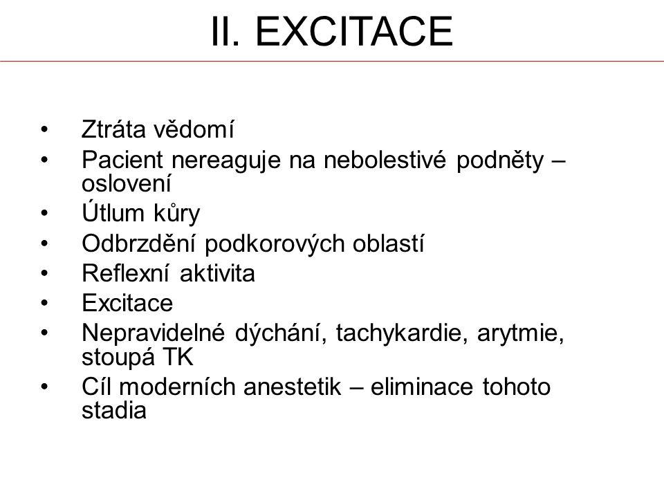 II. EXCITACE Ztráta vědomí Pacient nereaguje na nebolestivé podněty – oslovení Útlum kůry Odbrzdění podkorových oblastí Reflexní aktivita Excitace Nep