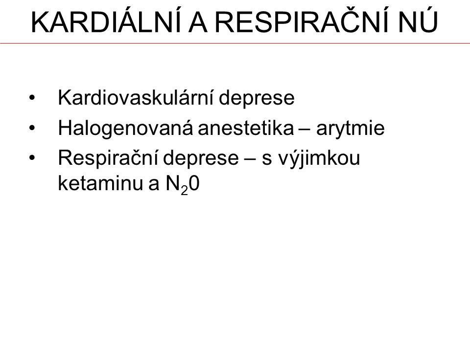 KARDIÁLNÍ A RESPIRAČNÍ NÚ Kardiovaskulární deprese Halogenovaná anestetika – arytmie Respirační deprese – s výjimkou ketaminu a N 2 0